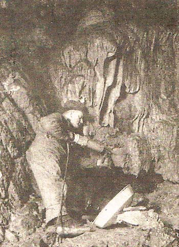 picture of the Crystal Cave getting rewired for electricity